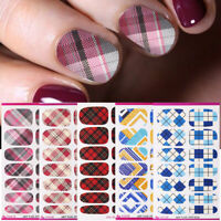 Nagel Aufkleber Voll Wraps Checked Nail Art Transfer Stickers 3D Nail Dekoration