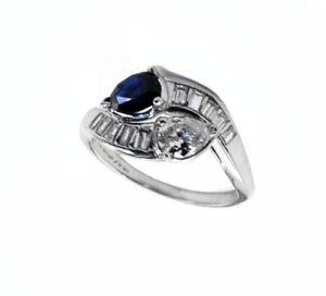 "Vintage 1930's  ""LOVE and FRIEND "" Diamond Sapphire Platinum Engagement Ring"