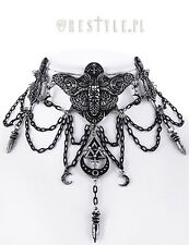 Restyle Occult Moth Choker Necklace Alchemy Symbols Moon Wiccan Goth Jewelry