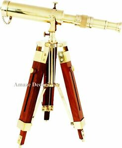 Nautical Polished Brass Telescope With Wooden Tripod Stand Desk Decor