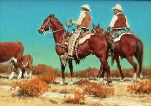 LISTED Harold Lyon Cowboys in Sunny Desert Landscape Older Oil Painting 1 NO RES