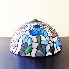 Lampenschirm Altmessing Tiffany Glas echte Handarbeit ø 40 cm Dekor Blüten Lampe