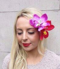 Double Purple Cerise Pink Orchid Flower Hair Clip Rockabilly 50s Fascinator 3288