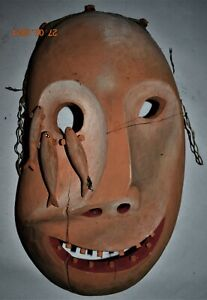 ORIG $399 POWERFUL INUIT MASK, TEETH, FISH 20""