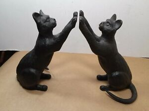 Incredible pair of Cast Iron High Five Cat Bookends about 6.75 x