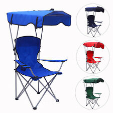 Folding Camping Chair With Canopy For Outdoor Garden Fishing Beach Sunshade