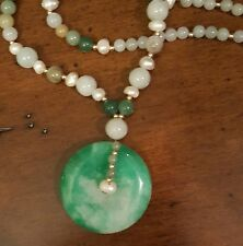 "GRADE A JADE ""PI"" DISC PENDANT WITH SEED PEARLS, JADE & 14K GOLD FILLED BEADS"