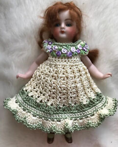 Crochet Dress for 6 - 7 Inch Mignonette, Kestner Or All Bisque Doll Cream/sage
