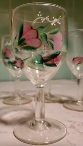 Set of 4 Hand Painted Goblet Wine Glasses Pink Flowers