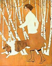 WOMAN WITH DOG, COLE PHILLIPS, OPTICAL ILLUSION, FADE AWAY IMAGE, FRIDGE MAGNET