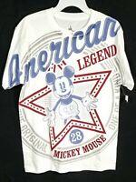 Disney Parks Medium White Mickey Mouse American Legend Short Sleeve T-Shirt