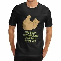 Men's Silly Bear Bum Cute Funny Graphic Cotton T-Shirt