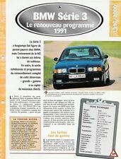 BMW SÉRIE 3 1991 - FICHE TECHNIQUE VOITURE AUTO VÉHICULE COLLECTION