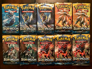 Lot of 10 Sun and Moon Base Set Booster Packs: Factory Sealed Pokemon Cards FS