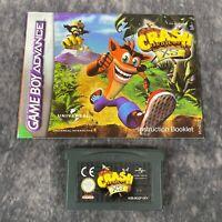 Crash Bandicoot XS Nintendo Game Boy Advance GBA Game Cart & Manual Genuine