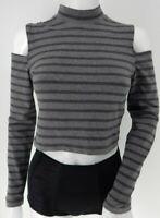 Grey Stripe Cold Shoulder Jack Wills Crop Top UK12 EU 40 US 8 Goth Boho Punk Emo
