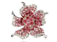 Fashion Women Impatiens Pink Rose Petals Crystal Rhinestone Sun Flower Ring Band