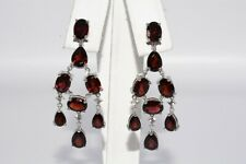 12.70CT NATURAL RED GARNET & WHITE TOPAZ BEAUTIFUL DANGLE EARRINGS .925 SILVER