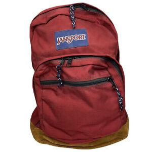 Vintage Jansport Backpack 90s Suede Leather Bottom School Book Bag Red VTG