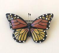 Unique  monarch butterfly  brooch pin in enamel on metal
