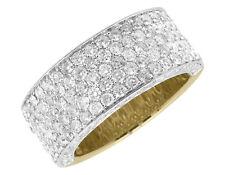 Ladies 10K Yellow Gold 3D Round Pave Diamond Engagement Wedding Ring Band 3.5ct