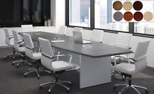 14 Ft Foot Modern Conference Table With Grommets For Power Gray White 8 Colors