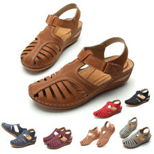 Womens Sandals Ladies Summer Closed-Toe Sandals Soft Footed Wedge Shoes Size 2-8
