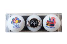 """Geschenk-Set: 2 Golfbälle """"HAPPY BIRTHDAY"""" + Schuh-Clip mit Namen oder Initialen"""