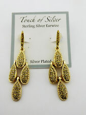 TOUCH OF SILVER  Gold Tone Teardrop  Earrings Msrp $40.00 *NEW WITH TAG*