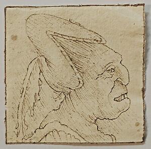 OLD MASTER DRAWING. A GROTESQUE Head. RARE After Leonardo Da Vinci Sepia ink