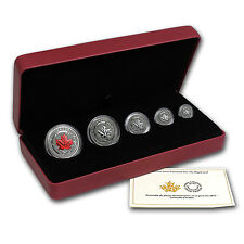 2015 5-Coin Reverse Proof Silver Canadian Maple Leaf Set