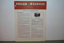 PHILCO RADIO SERVICE MANUAL 49-100 (8 PAGES)