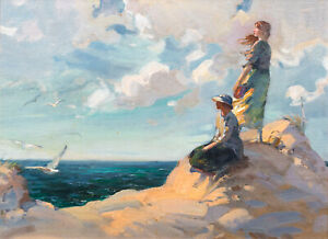 Large Early 20th Century Edwardian Ladies Beach Landscape George William RUSSELL