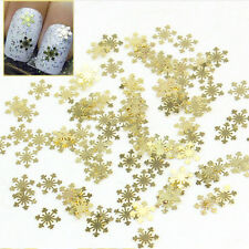 100pcs 3D Christmas Gold Snow Flake Alloy Jewelry Nail Art Tip Decoration