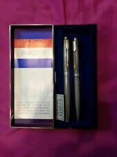 Parker 75  Sterling Silver Fountain Pen Med Pt & Ballpoint Pen Set New In Box