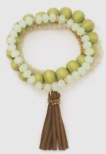 Natural Stone Suede Leather Tassel Stackable Bracelet Brown Green