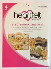 "HEARTFELT CREATIONS  Foldout Cards 5"" x 7"" KRAFT"
