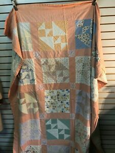 Vintage Multi-Color Cotton Handmade Quilt-Hand Quilted