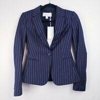 HUGO BOSS Jaxtina Jacket/Blazer NAVY BLUE Pinstriped Women's Size 0 MSRP$595 New