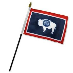 """Wyoming Flag 4x6in Stick Flag Small Handheld WY State Flag 4"""" x 6"""""""
