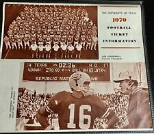 Vintage 1970 The University of Texas 1970 Football Ticket Information Page