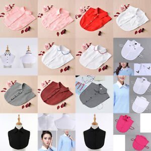 Women's Detachable False Collar Elegant Cotton Fake Blouse with Lace Half Shirt