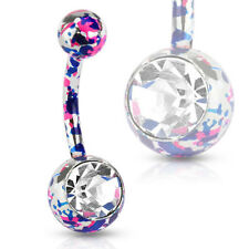 Splatter Navel Ring with Large Cz 316L Surgical Steel Pink and Purple Paint