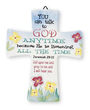 PORCELAIN CROSS YOU CAN TALK TO GOD ANYTIME HE IS LISTENING - OTHER ONES LISTED