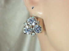 Austria Signed Super Sparkly Vintage 1950s Art Deco Rhinestone Earrings 27M4