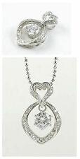 18K White Gold Plated Diamond Cut Zirconia Pendant with Necklace 021
