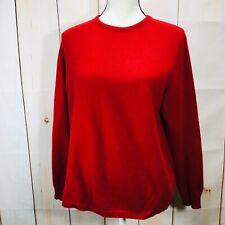 Eddie Bauer Womens Sweater 100% Cashmere Size Medium Crew Neck Red
