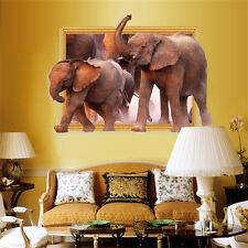 Art 3D Stickers Elephant Zoo Safari Vinyl Poster Livingroom Bedroom Wall Decal