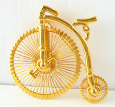 Bicycle Bike Brooch Pin High-Wheel Penny-Farthing Type Gold Tone Wire Spokes
