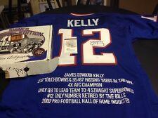 Jim Kelly Historic Autographs SIGNED Stat Jersey NFL HOF Blue Jersey w Box JSA
